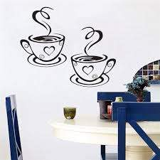 Newly Designed Beautiful Coffee Cups Tea Wall And Kitchen Wall Stickers Art Vinyl Decal For Kitchen Room Coffee Bar Decor Cup Match Decal Picsdecal Laptop Aliexpress