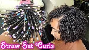 straw set on natural hair style demo