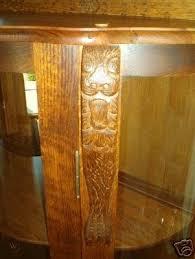 antique oak curved glass curio cabinet