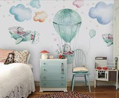 Hot Air Balloon Animal Wallpaper Mural Kids Room Contact Paper 3d Photo Wallpapers Children Room Wall Murals Wallpaper Rolls Wallpapers Aliexpress