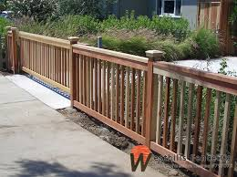2x2 Redwood Picket Fence With Sliding Gate