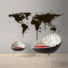 Amazon Com Wall Decal World Travel Map Countries City Ink Stain Paint Drip Bedroom M1389 Handmade