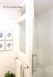 shower half wall with a window french