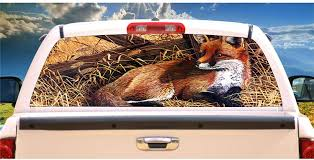 Amazon Com Tire Cover Central Fox Tail Tales Laying Next To Wooden Gate Rear Window Mural Decal Or Tint Choose Size Or Send Your Own Measurements Automotive
