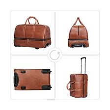 leather trolley luggage wheeled duffle