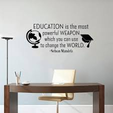 Hot Sale A591e Inspirational Wall Decal Quote Education Is The Most Powerful Weapon Removable Vinyl Wall Decals For Classroom School Decor Cicig Co