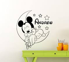 Amazon Com Personalized Custom Mickey Mouse Wall Decal Nursery Custom Baby Name Cartoon Disney Vinyl Sticker Personal Home Nursery Room Interior Art Decor Kids Girl Boy Room Mural Waterproof Vinyl Sticker 34me Home