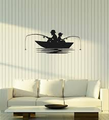Vinyl Wall Decal Fisher With Son Fishing Boat Fisherman Hobby Room Int Wallstickers4you