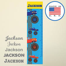 Wallclipz Personalized Growth Chart Fabric Wall Decal Monster Trucks With Name Height Ruler Measurement Peel And Stick Decor Kids Nursery Boys Red Blue Measuring Removable Reusable Made In Usa Baby B076pvx1t5