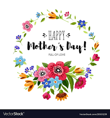 Happy mothers day card with round flowers frame Vector Image