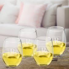 initial stemless wine glass set