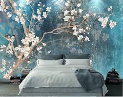 Oriental Plum Blossom Magnolia Birds Wallpaper Wall Murals Etsy Wall Wallpaper Tree Wall Murals Wall Murals
