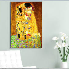 Gustav Klimt Kiss Famous Figure Wall Canvas Painting Print On Canvas Wall Art Pictures For Living Room Home Decoration No Frame Nana S Corner Beauty Cosmetic