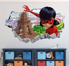 Amazon Com Miraculous Ladybug Wall Decal Art Decor 3d Smashed Sticker Mural Kids Gift Large Ha19 22 W X 14 H Home Kitchen