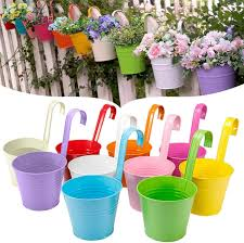 Geeric Metal Flower Pot 10 Pcs Colored Metal Hanging Plant Pots Fence Flower Pots Garden Hanging Flower Holder For Outdoor With Detachable Hook Amazon Co Uk Garden Outdoors
