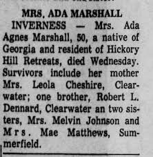 Mrs. Ada Agnes Marshall, 50 died May 13, 1970 in Inverness, Florida. -  Newspapers.com