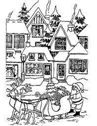 Kleuren Nu Kerstman Bij Huizen Kleurplaten