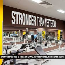 Stronger Than Yesterday Quote Sports Decals Gym Wall Decal Workout Stickers Fitness Stickers Gym Wall Decor Gym Interior Gym Wall Decal