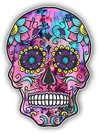 Amazon Com Vinyl Junkie Graphics Sugar Skull Sticker Dia De Los Muertos Decal Mexican Day Of The Dead Stickers For Notebook Car Truck Laptop Many Color Options Cotton Candy Automotive