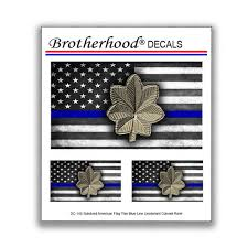 Thin Blue Line Police Major Rank American Flag For Law Etsy