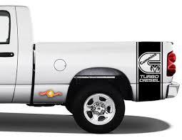 Decals Truck Ran Cummins Turbo Diesel Bed 2 Stripe Vinyl Sticker