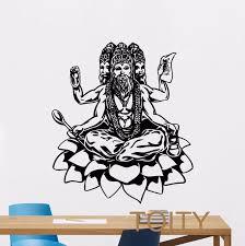 Brahma God Wall Decal Hindu Art Yoga Vinyl Sticker Indian Religion Decor Home Interior Mural Wall Decals Vinyl Stickersdecoration Home Aliexpress
