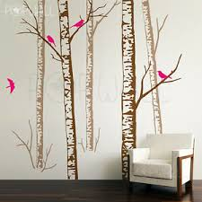 Realistic Birch Forest Tree With Birds Wall Decal Wall Sticker Trees Wall Decal Ebay