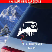 Chairlift Ski Snowboard Car Decals Family Couples Powderaddicts
