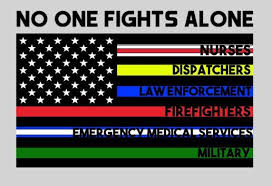 No One Fights Alone Thin Blue Line American Flag Vinyl Car Decal Support Firefighters Nurses Military Dispatchers Ems Police In 2020 Fight Alone American Flag American Flag Decal