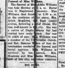 Obituary of Addie Williams - Newspapers.com