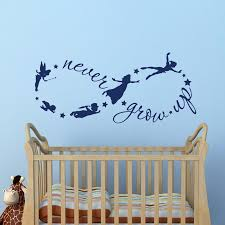Peter Pan Children Flying Silhouette Never Grow Up Quote Fantasy Fairytale Infinity Symbol Wall Decals Nursery Kids Wall Sticker Kids Wall Stickers Wall Stickerkids Wall Aliexpress