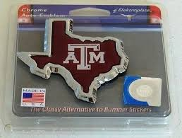 Texas A M Aggies Color Chrome Metal State Shaped Auto Emblem Decal Ncaa Licensed 1423730984