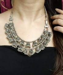 traditional style oxidized silver neck