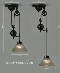 glass shade pulley pendant light
