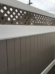 6 Khaki White Two Tone Pvc Fence With Privacy Lattice Fence Panels Pvc Fence Fence