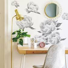 Roommates Black And White Peony Giant Peel And Stick Wall Decals Rmk4413gm The Home Depot