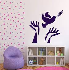 Vinyl Decal Symbol Of Peace Wall Stickers Dove Olive Branch Hands Uniq Wallstickers4you