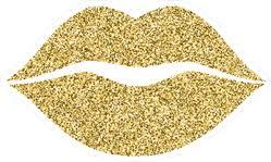 Gold Glitter Lip Icon Sticker