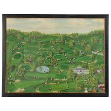 """Ray Becker Oil Painting """"The Village Greens"""", Mid 20th Century   EBTH"""