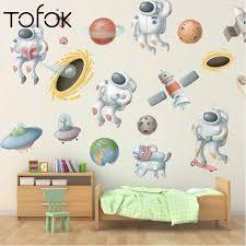 Tofok Outer Space Planet Astronaut Galaxy Rocket Wall Sticker Kids Room Classroom Bedroom Wall Vinyl Decals Nursery Home Decor Wall Stickers Aliexpress