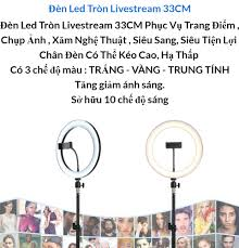 Bộ Đèn Live Stream 33cm - Đèn Led Chuyển Được 3 Màu , Bộ Đèn Led Tròn  Livestream Ø 33cm - Trang Điểm - Chụp Ảnh - Xăm Nghệ Thuật - Siêu