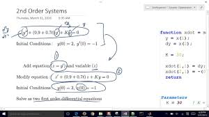 solve 2nd order diffeials in matlab
