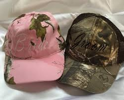 mr and mrs cap camo bride cap groom