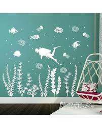 Discover Deals On Scuba Diver Ocean Wall Decal Under The Sea Creatures Decal Seaweeds Octopus Fishes Coral Under Water Decal Under The Sea Baby Nursery Decor