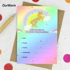 Conjunto De 10 Tarjetas De Invitacion De Ducha De Bebe Unicornio