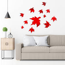 3d Wall Stickers Maple Leaf Combination Mirror Effect Wallpaper Living Room Bedroom Romantic Decor Buy At A Low Prices On Joom E Commerce Platform