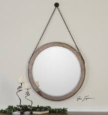 round wood wall mirror farmhouse large