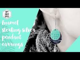enamel sterling silver pendant earrings