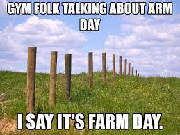 Gym Folk Talking About Arm Day I Say It S Farm Day Fence Posts Meme Generator
