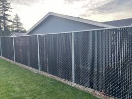 6 Ft Chain Link With Black Slats All White Wolf Fencing Facebook